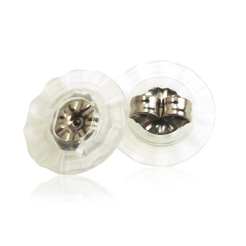 Skin friendly earring backs with disc for titanium earrings